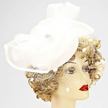 Kentucky Derby Church Wedding Floral French Net Hair Comb Cocktail Fascinator - White
