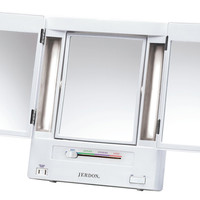 Jerdon JGL9W Tabletop Tri-Fold Two-Sided Lighted Makeup Mirror