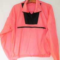 Vintage 1990s Neon Pink Outrageous Sports Windbreaker Pullover Jacket