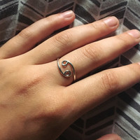 Cancer Glyph Ring - Sterling Silver Astrological Sign Adjustable Ring - June July Birthday Zodiac Symbol