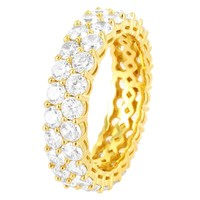 14k Gold Finish Men's Two Row Stones Silver Wedding Band