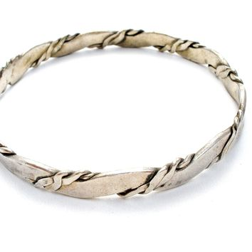 Mexican Sterling Silver Twisted Bangle Bracelet Vintage