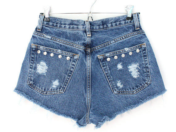 High Waisted Silver Studded Shorts