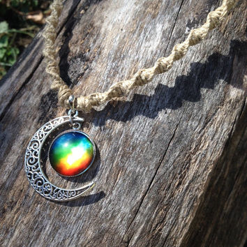 Moon hemp necklace, galaxy necklace, cresent moon necklace