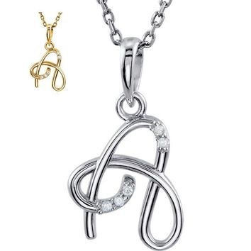 "Diamond Script Initial 18"" Necklace - A to Z - Sterling Silver or 14k Yellow Gold"