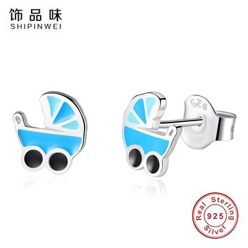 Shipinwei New Arrival Cartoon Collection Baby Stroller Stud Earrings For Girls Children 925 Sterling Silver Earring Jewelry Gift