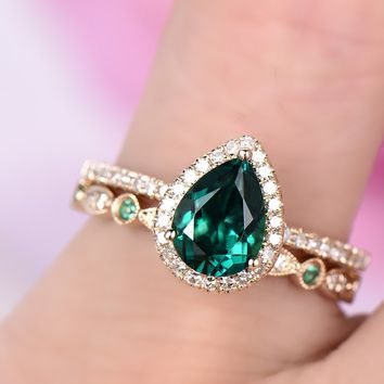 Pear Emerald Engagement Ring Sets Pave Diamond Wedding 14k Yellow Gold 6x8mm