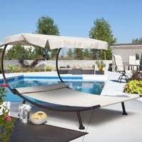 Coral Coast Coral Coast Del Rey Double Chaise Lounge with Canopy, Aluminum, 79W x 78W x 57.25H in.