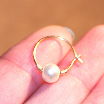 Cartilage Hoop (1) Earrings, Pearl Beaded Hoop, Cartilage Hoops, Piercing/lobe/cartilage/helix/tragus/rook/daith/men