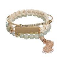 Apt. 9 Bead, Tassel & Braid Bracelet Set (Grey)