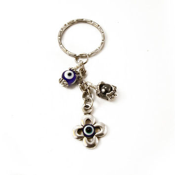 Greek Evil Eye Keychain, Mati, Hamsa, Eye Charm with Hematite & Glass Evil Eye Bead