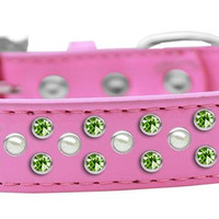 Sprinkles Dog Collar Pearl and Lime Green Crystals Size 20 Bright Pink