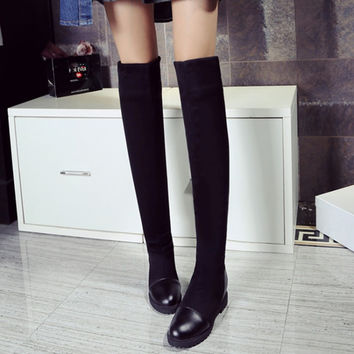 2016 Botas Mujer Big Size 34-43brand Design Patch Color Over The Knee Boots Thick Sole Platform Slim Long Winter Autumn X61-5