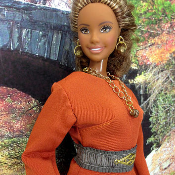 Curvy Barbie Doll Culotte Jumper - Pumpkin Spice Culottes with Earrings, Necklace, Removable Belt, and Shoes for Curvy Barbie Doll