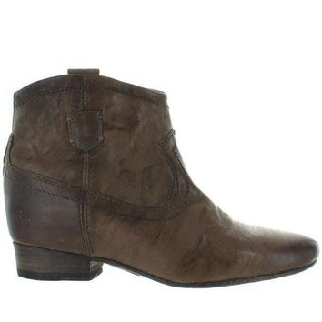Frye Boot Monica   Taupe Leather Back Zip Bootie