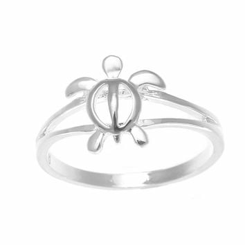 10MM STERLING SILVER 925 SHINY HAWAIIAN HONU SEA TURTLE RING SIZE 3-10