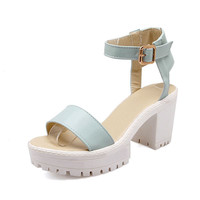 platform summer women sandals ankle strap front rear strap square heel Candy color sweet soft leather beach shoes woman