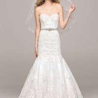 Sweetheart Trumpet Gown with Beaded Sash - David's Bridal