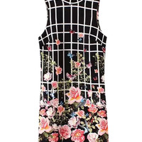 Black Floral Printed Sleeveless Mini Dress with Keyhole Back