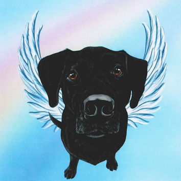 Black Lab Angel - Black Labrador Retriever Art - Labs - Dog Angels - Guardian Angels - Pet Memorial - Rainbow Bridge - Weeze Mace - 8x10