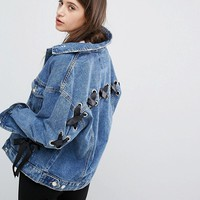 Bershka Ribbon Sleeve Detail Denim Jacket at asos.com