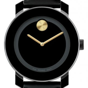 Movado Bold Midsize 36mm Black Leather Black Dial Gold Tone Dot Watch 3600078