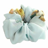 Light Blue Floral Print Hair Scrunchie Chiffon Elastic Pony Tail Holder Retro Fancy Accessories for Women