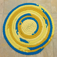 Clearance, Yellow Teal Rug, Braided Rug, Round Rug, Upcycled Tshirt Rug, Yellow Rug, Round Braided Rug, Braided Tshirt Rug