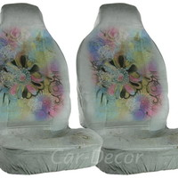 Designer Imagine Butterfly Car Seat Covers Gray 2 Pc
