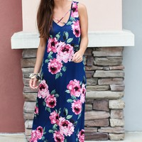 Navy Or Nothing Floral Maxi Dress
