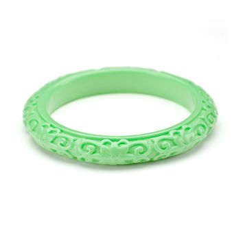 Kenneth Jay Lane Carved Green Jade Bangle Bracelet