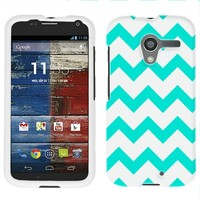Moto X Chevron Turquoise and White Firm Case