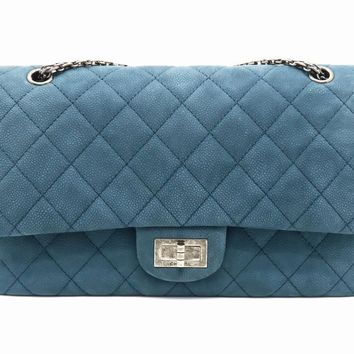 Chanel Quilting Caviar Leather 2.55 Flap Silver Metal Flap Bag Blue