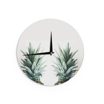 "Chelsea Victoria ""Two Pineapples"" Green Gold Wall Clock"