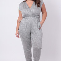 Plus Size Retro Love Jumpsuit - Grey