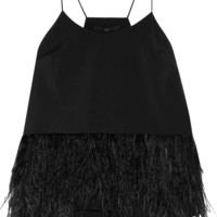 Tibi - Feather-embellished stretch-faille camisole