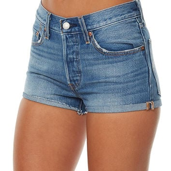 LEVI`S 501 WOMENS DENIM SHORT - BLUE EXPLORER