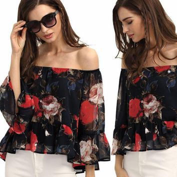 Womens Stunning Summer Chiffon Off Shoulder Top