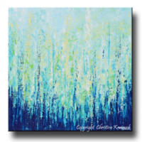 "GICLEE PRINT Abstract Painting Indigo Blue Aqua White Modern Canvas Print Coastal Light Blue Green Yellow Wall Decor LARGE size up to 60"" -Christine"