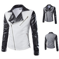 Biker Style Leather Sleeve Men's Jacket