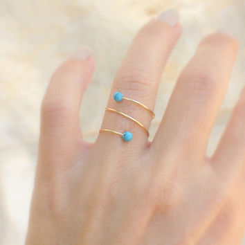 Gold ring - 14k gold filled thin ring with a tiny turquoise stone, spiral ring, thin delicate ring,turquoise gold ring