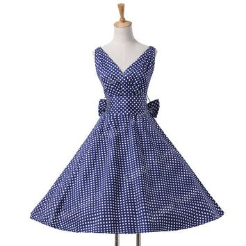 Womens summer dresses summer plus size Maggie Tang 50s Vintage Retro robe vestidos Pin up Swing Polka Dot Rockabilly Dress