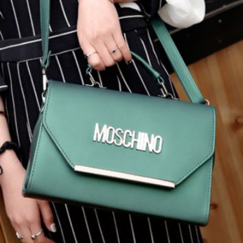 Moschino New Diagonal Portable Handbag Vintage Style Letter Bag Green