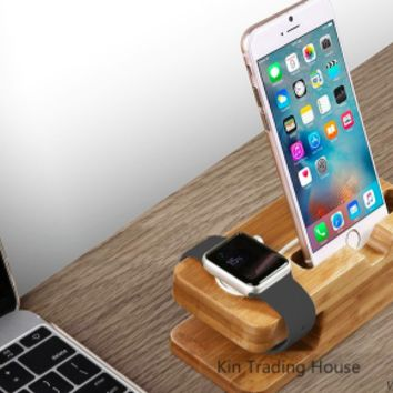 Bamboo Apple Watch Charging Dock Station Phone Holder Stand