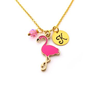 Pink Flamingo Gold Personalized Necklace
