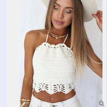 PEAPUNT Women Crop Top Halter Crochet Tops Halter Bralette Vintage Lace Camisole Bandage Backless Top 2016 Summer Fashion