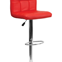 Flach Furniture Contemporary Red Quilted Vinyl Adjustable Height Bar Stool with Chrome Base
