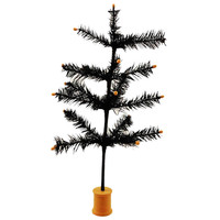 "Halloween 16"" Black Feather Tree Halloween Decor"