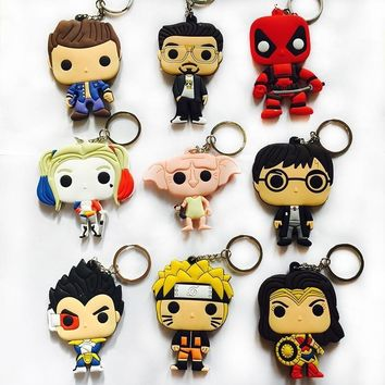 Deadpool Dead pool Taco Anime Harri Potter Dobby Wonder Woman  Naruto Vegeta PVC Action Figure Keychain Phone Strap Pendants Toy Gift AT_70_6