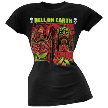 PEAPGQ9 Rob Zombie - Slayer/Rob Zombie Hell On Earth Juniors T-Shirt